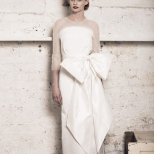 Dress by Muscat Bridal. Silk duchess skirt and silk moroccain top with french lace and pleated tulle detail.