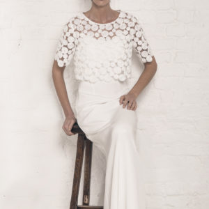Dress by Muscat Bridal. Silk moroccain gown with puddle train. Circle embroidery t-shirt with scalloped edges.