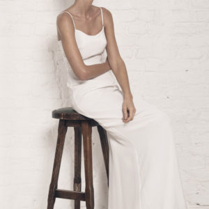 Dress by Muscat Bridal. Silk moroccain gown with puddle train.