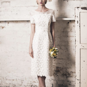 Dress by Muscat Bridal. Circle embroidery net dress with scallop detail.