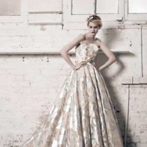 Dress by Muscat Bridal. Metallic flower organza ballgown with boned bodice and tulle underskirt.