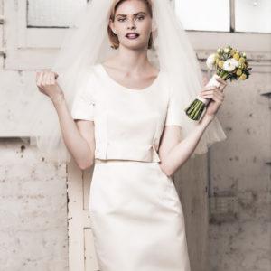 Dress by Muscat Bridal. Silk duchess crop top. Silk duchess pencil skirt.