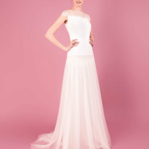 Dress by Muscat Bridal. Silk moroccain and tulle gown with lace applique and soft draping.