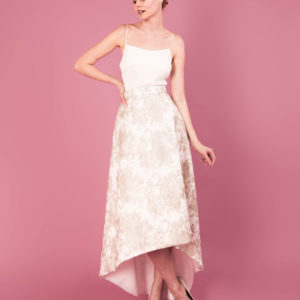 Dress by Muscat Bridal. Metallic flower embroidered skirt. Silk morrocain camisole.