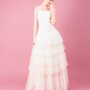 Skirt by Muscat Bridal. Layered full skirt in polka dot tulle.