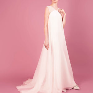 Dress by Muscat Bridal. Sweeping gown in silk organza with a bias cut lining.